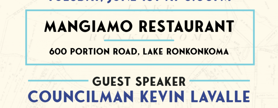 Flyer for June 1st General Meeting at Mangiamo Restaurant