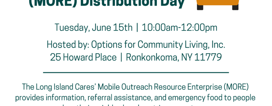 Flyer for Mobile Outreach Resource Enterprise (MORE) Distribution Day